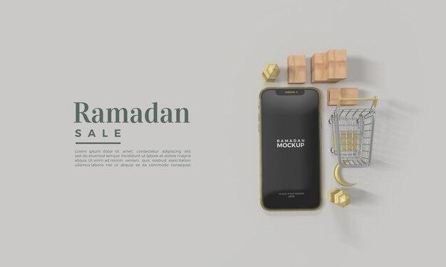 Maquette de rendu 3d de vente ramadan avec smartphone réaliste