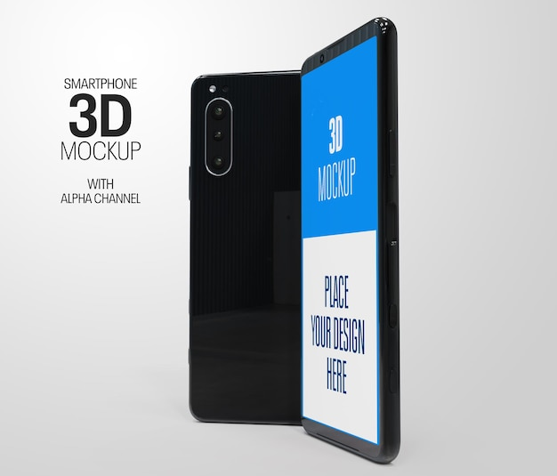 Maquette de rendu 3d vue smartphone