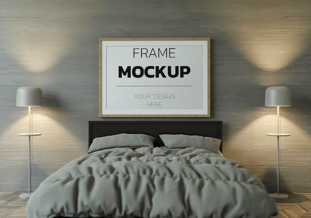 Maquette de rendu de cadre 3d à l'intérieur de la maison
