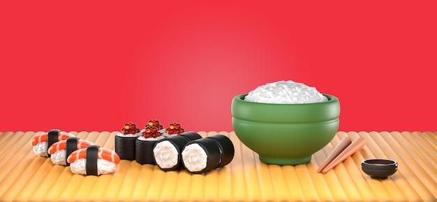 Maquette de rendu de délicieux sushis