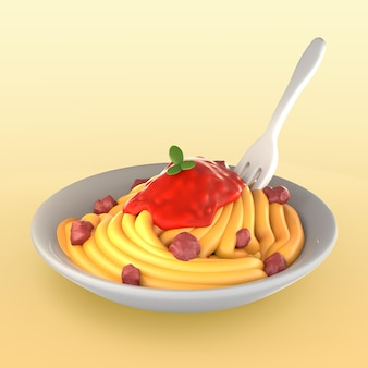 Maquette de repas avec spaghetti et sauce