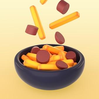 Maquette de repas avec des tranches de saucisses et des frites