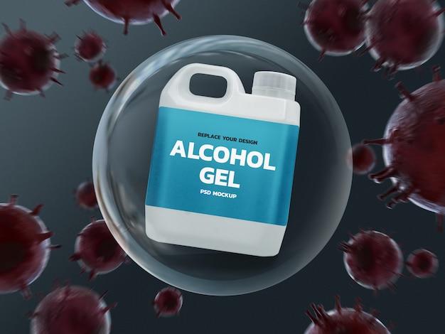 Maquette de réservoir d'alcool dans une bulle, entourée de coronavirus