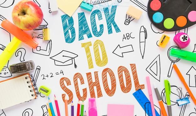 Maquette de retour à l'école colorée