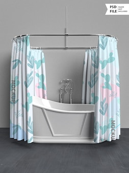 Maquette de rideau de bain