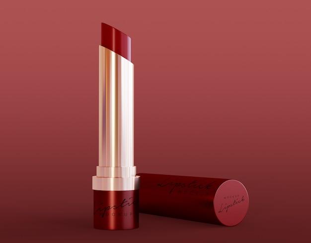 Maquette de rouge à lèvres cosmétique
