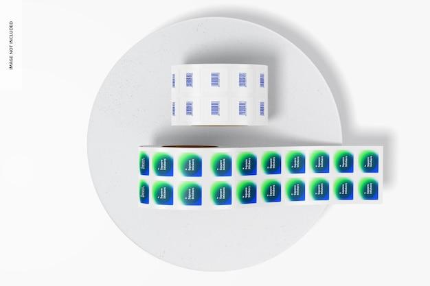 Maquette de rouleaux d'autocollants carrés, vue de dessus