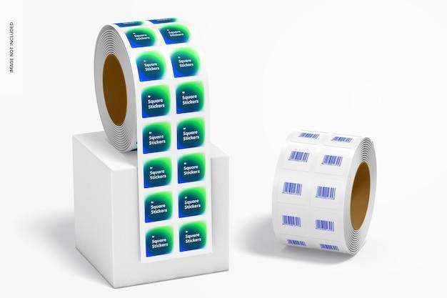 Maquette de rouleaux d'autocollants carrés