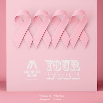 Maquette de ruban de sensibilisation au cancer isolée