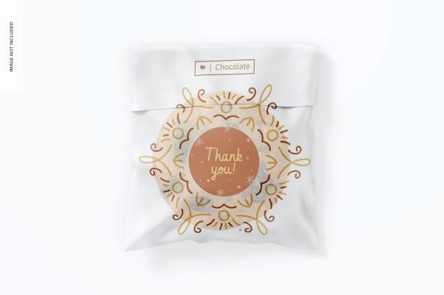 Maquette de sac à biscuits en cellophane, vue de dessus