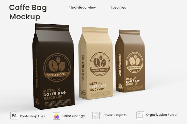 Maquette de sac à café en papier métallique