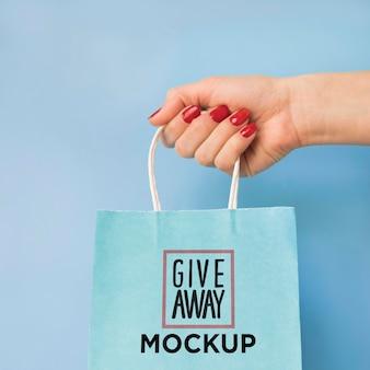 Maquette de sac avec campagne de vente