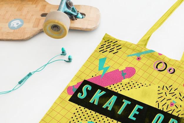 Maquette de sac avec concept de planche à roulettes