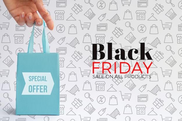 Maquette de sac concept vendredi noir