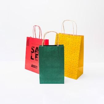 Maquette de sac de courses de différentes couleurs