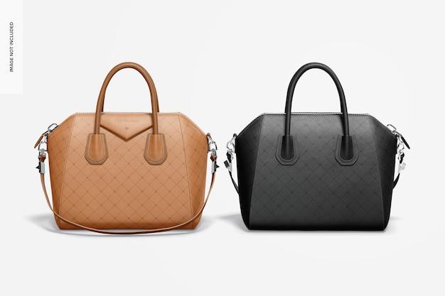 Maquette de sac en cuir pour femmes avant arrière