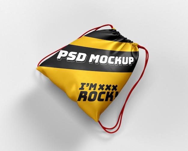 Maquette de sac à dos dynamique de sac à cordon réaliste