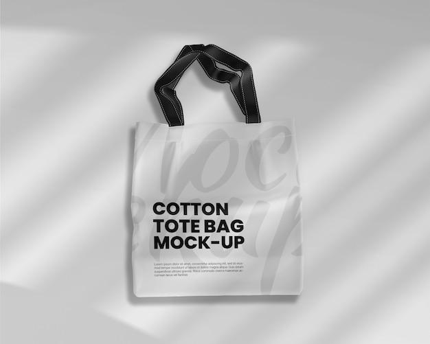 Maquette de sac fourre-tout en coton avec ombre