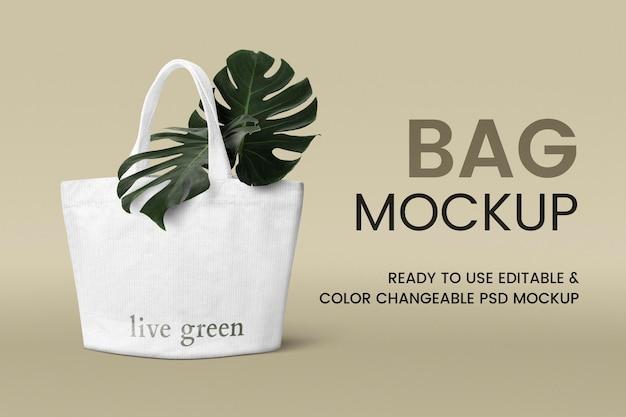 Maquette de sac fourre-tout en toile psd produit écologique