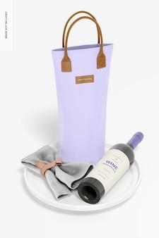 Maquette de sac fourre-tout à vin, perspective