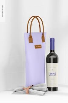 Maquette de sac fourre-tout à vin