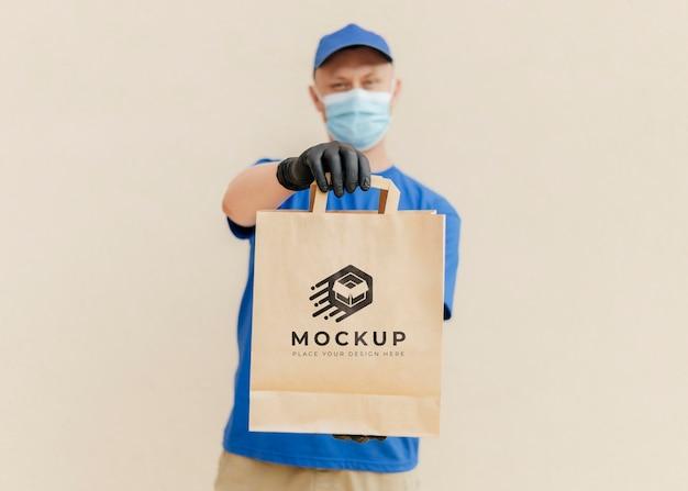 Maquette de sac de maintien de courrier