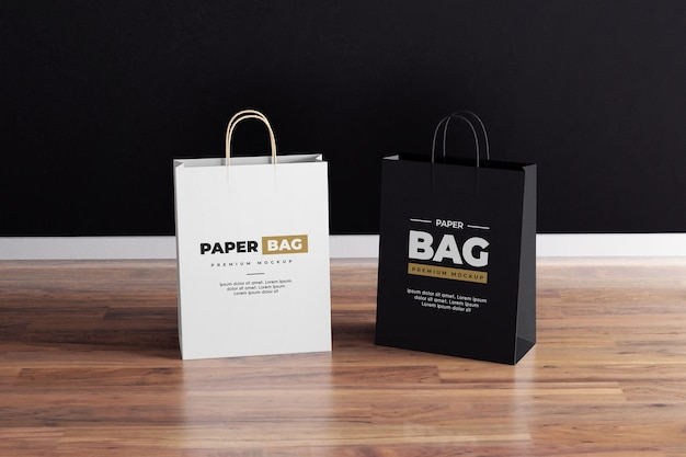 Maquette de sac en papier noir et blanc