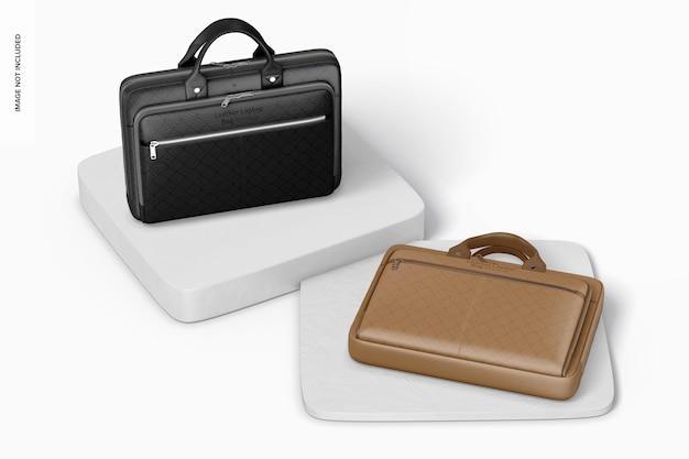 Maquette de sac pour ordinateur portable en cuir