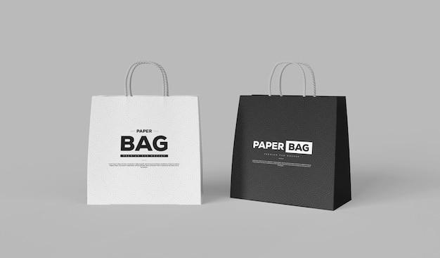 Maquette de sac à provisions élégant noir et blanc