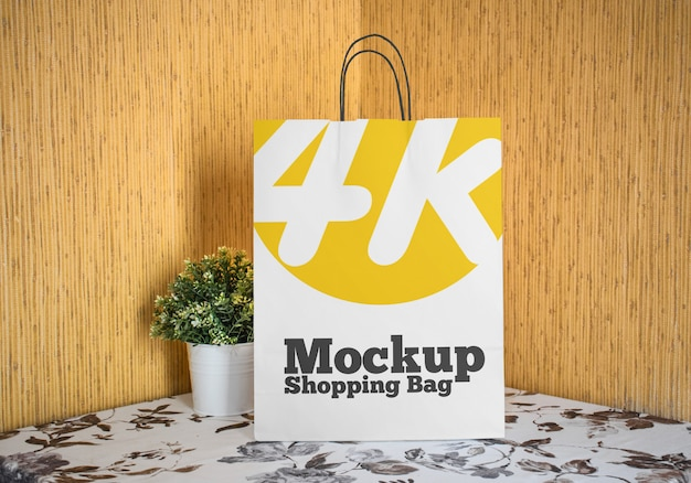 Maquette de sac à provisions en papier psd