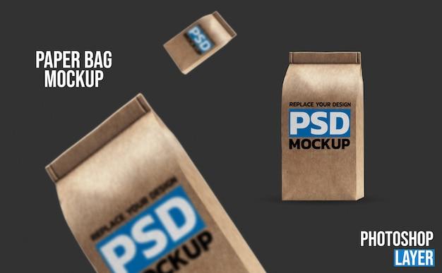 Maquette de sacs de café en papier