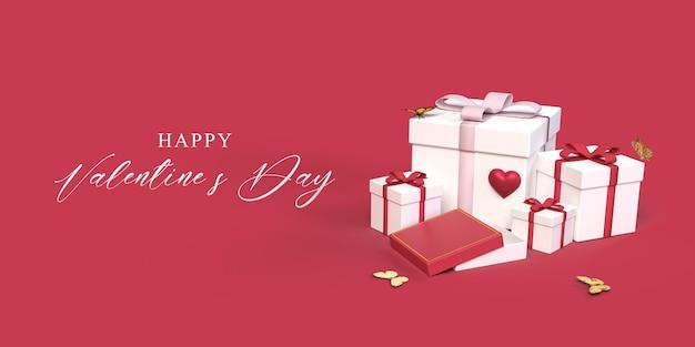 Maquette de la saint-valentin avec boîte-cadeau, papillon, symbole du coeur