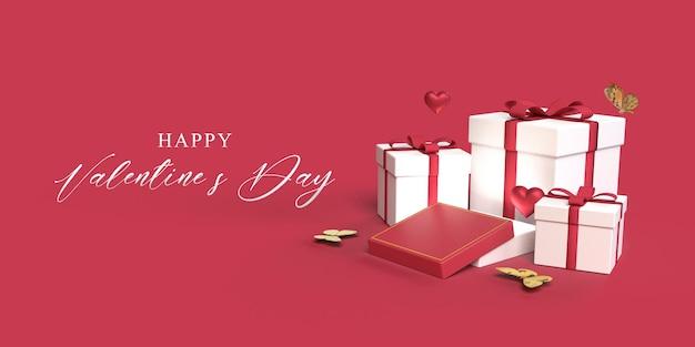Maquette de la saint-valentin avec coffrets cadeaux, papillon, symbole du coeur