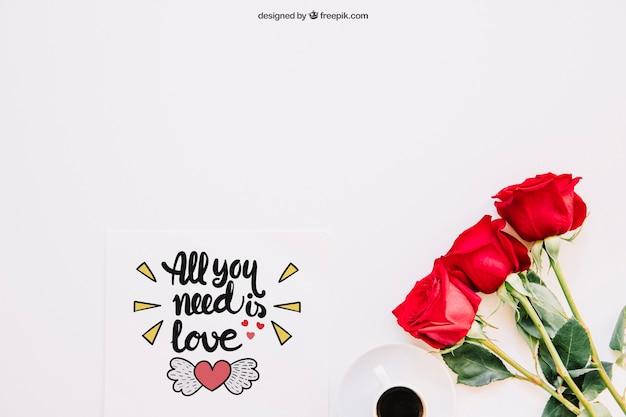 Maquette de la saint-valentin avec des roses