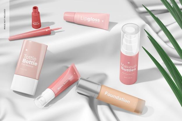 Maquette de scène de bouteilles de maquillage, vue en perspective