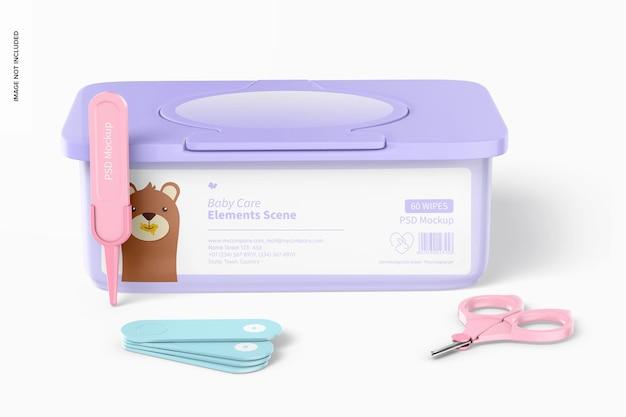 Maquette de scène d'éléments de soins de bébé, vue de face