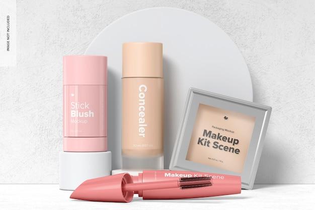 Maquette de scène de kit de maquillage, vue de face