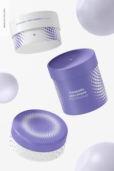 Maquette de scène de pots cosmétiques, tombant