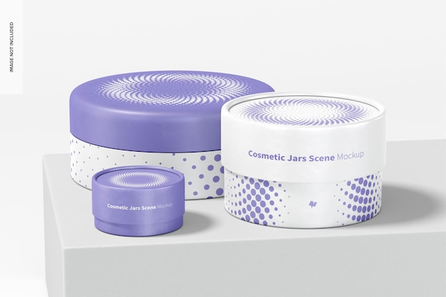 Maquette de scène de pots cosmétiques