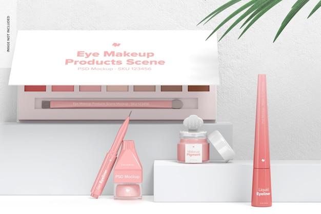 Maquette de scène de produits de maquillage pour les yeux