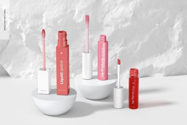 Maquette de scène de produits pour les lèvres, ouverte