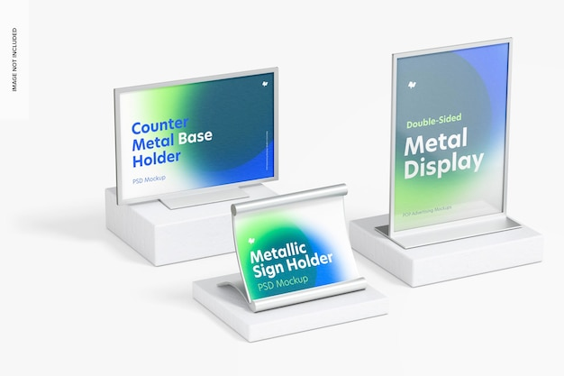 Maquette de scène de support de panneau de bureau en métal