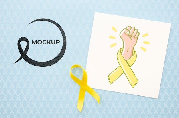 Maquette de sensibilisation au cancer du ruban jaune