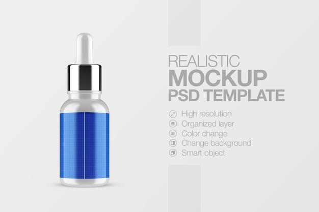 Maquette de sérum de bouteille cosmétique réaliste
