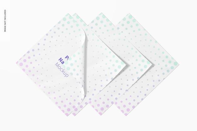 Maquette de serviettes en papier, vue de dessus