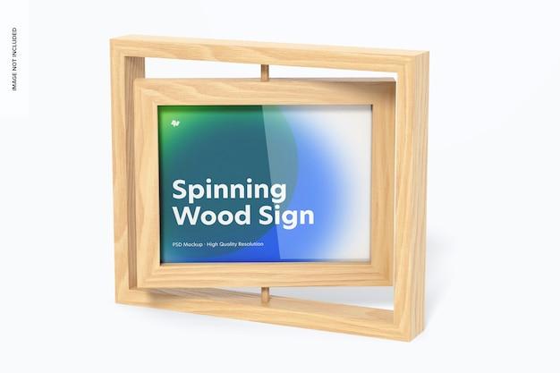 Maquette de signe de cadre en bois en rotation