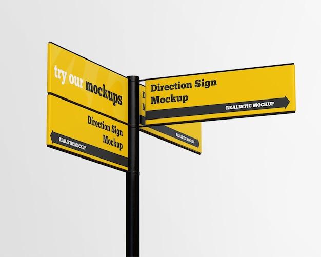 Maquette de signe de direction isolée