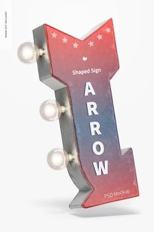 Maquette de signe en forme de flèche rétro, flottant