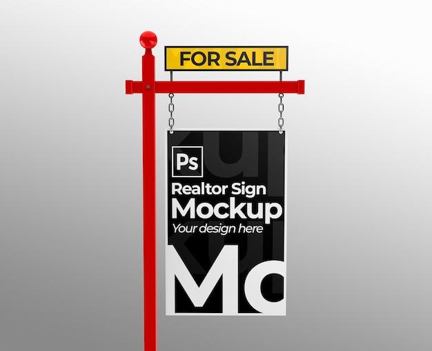 Maquette de signe immobilier de vente pour des présentations ou une image de marque