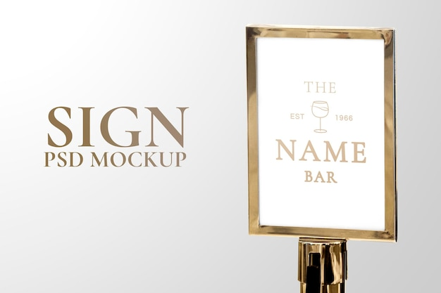 Maquette de signe de luxe doré psd pour les événements